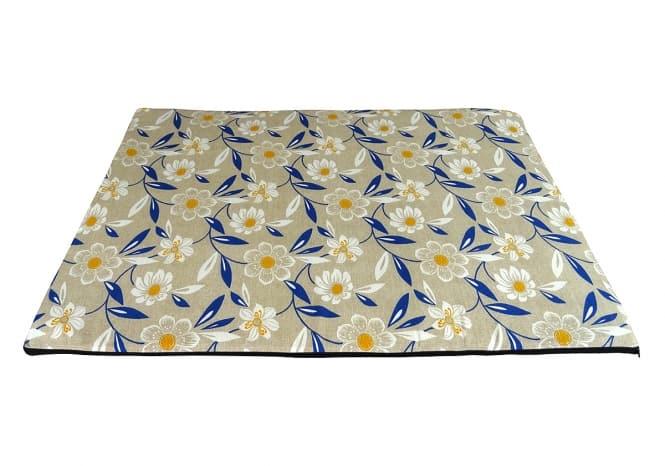 CARBONE Hundematte Mattress, 60 x 80 cm Blumen-blau