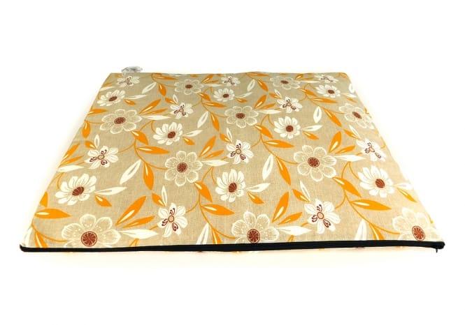 CARBONE Hundematte Mattress, 60 x 80 cm Blumen-gelb