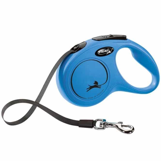 FLEXI Rollleine New CLASSIC Gurt - 5m, bis 15kg Blau