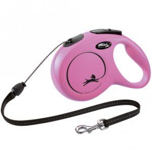 FLEXI Rollleine New CLASSIC Seil - 8m, bis 20kg Pink