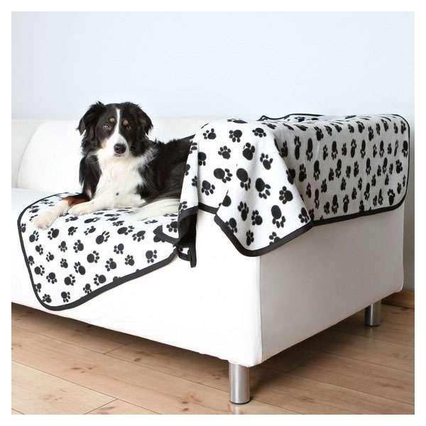 Trixie Fleecedecke Benny 150 x 100 cm - Weiß mit Pfoten